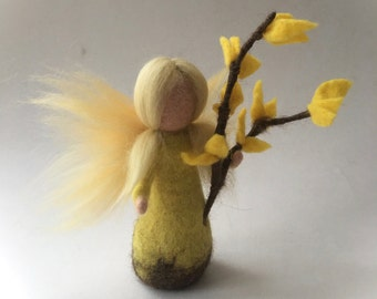 Forsythia flower child.Wet  felted. Waldorf. Felted. flower fairy.
