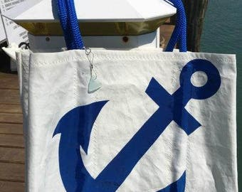Jumbo Sail Again Bag, Made to Order, BLUE Anchor from Recycled Sail Cloth
