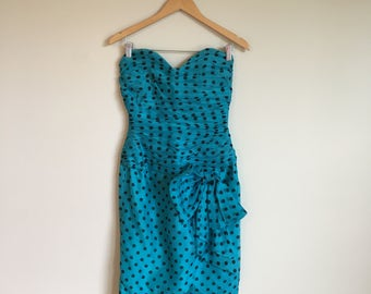 1980's Christian Dior Strapless Polka Dot Dress