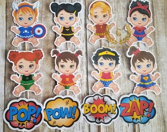 Baby Girl Superhero Cupcake Toppers-12, Superhero Baby Shower, Girl Superhero, Birthday Party, Baby Girl Superhero, Superhero Party