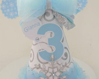 Frozen Silver Snowflake Princess - Winter Onederland Birthday Party Hat - Light Blue, White, Silver Glitter -  Personalized