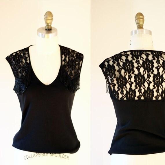 1980s black lace sleeveless top // fringe top // 1980s blouse
