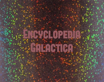 "Encyclopedia Galactica glitter glow-in-the-dark nail polish 15 mL (.5 oz) from the ""Don't Panic"" Collection"