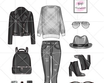 INSTANT DOWNLOAD - Wardrobe essential - Outfit clipart set - fashion clipart - black leather outfit