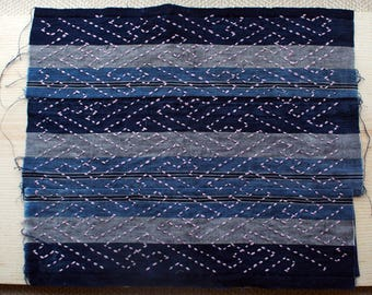 Sashiko Fabric / Japanese Vintage Fabric #005 Shima Stripe fabric Blue