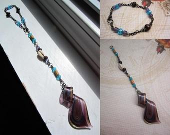 Convertible Multicolored Glass Ribbon Suncatcher > Rearview Mirror Trinket > Bracelet > Pendant