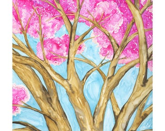Blossoming Cherry Tree watercolor giclee print