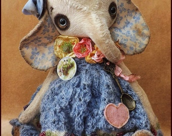 Alla Bears artist Sweet Old Bear designer fancy art doll handmade toy baby Antique lace dress embroidery Easter Valentine kitchen spoon rose