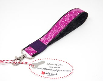 Pink wristlet keychain, preppy key fob, handcrafted loop key chain, fabric keyring, cute little gift, stocking stuffer, gift under 10