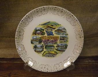 Oklahoma Souvenir Plate Vintage Souvenir Plate