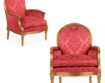 Pair of French Louis XVI Style Antique Giltwood Arm Chairs, 20th Century