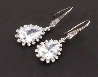 Bridesmaid Gift Wedding Jewelry Bridal Jewelry Bridal Shower Gift Bridal Earrings Crystal Jewelry Cubic Zirconia Earrings Maid of Honor