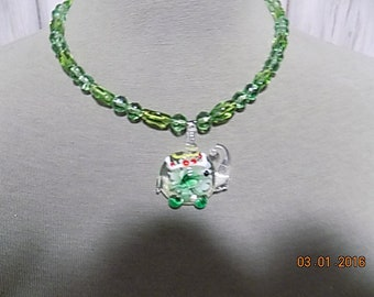 animal couture hand made lampwork murano style glass necklace