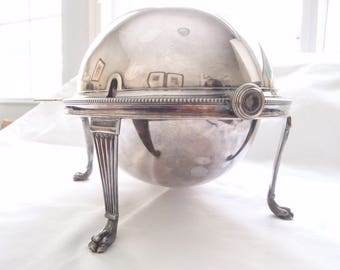 Silver Chafing Dish - Lidded Serving Bowl - Hot Cold Food - Seafood Caviar - Footed 3 Pc Server - 1930s Mappin & Webb 1930s Art Deco Serving