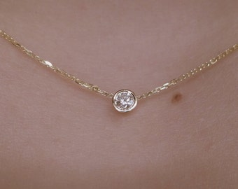Diamond Solitaire Necklace 0.07ct 14k Yellow Gold /Diamond Bezel Set Necklace/ Gold 14k Diamond Solitaire Pendant/ Delicate Diamond Necklace