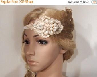 SALE Gatsby Headpiece, Gatsby Headband, gatsby hair clip, flapper headpiece, Flapper Hair Clip, Bridal Headpiece, black feather fascinator