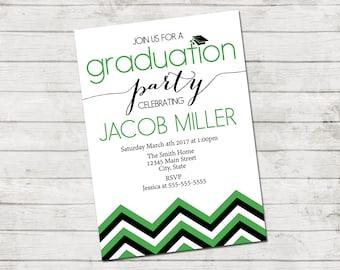 Graduation Party Invitation - Class of 2017 - Graduation Party - Chevron Stripes - Green Black and White - Printable