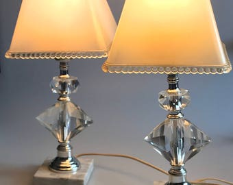 Two beautiful vintage crystal lamps made in Italy with Bakelite shades