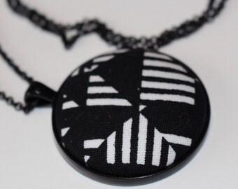 Black and White Geometric Pendant Necklace