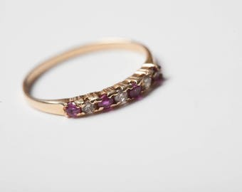 Diamond and Ruby Ring 14K Gold