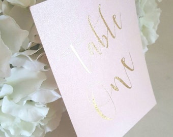 blush and gold table number cards gold foil