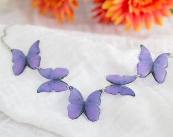 Purple butterflies necklace. Handmade, statement jewelry. Steel chain.