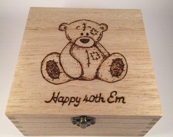 Tatty Bear wooden trinket box