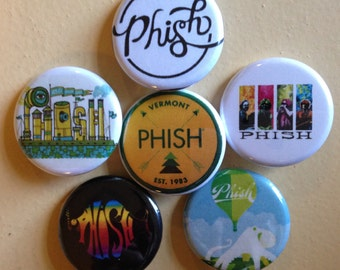"""Phish pin back buttons 1.25"""" set of 6"""
