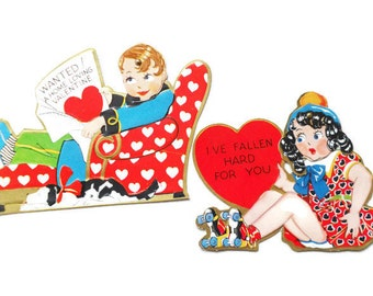 Vintage Embossed Valentine Cards with Moveable Googley Eyes