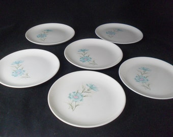Vintage Boutonniere Bouquet Bread & Butter Plates * Ever Yours * Aqua Carnation * Blue Bachelor Button * Set of 4