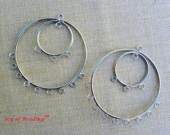 Chandelier Earrings, Rhodium Plated Chandelier with 2 Hoops, 4 pairs