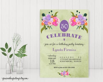 Adult Birthday Party Invitation, Woman's Birthday Invitation, Adult Birthday Invite, 40th, 50th, 70th, 90th, digital, printable, A22451
