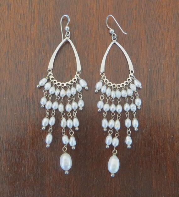 Baroque Pearl Chandelier Earrings, Vintage Dangle Pierced Earrings, Pearl Earring, Wedding Bride
