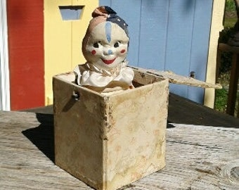 Rare Early Antique Clown Jack in the Box
