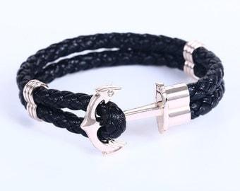 Handmade Rope Cuff Wristband Anchor Black Leather Bracelet.