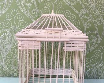 Vintage White Wicker Bird Cage - Decorative Bird Cage