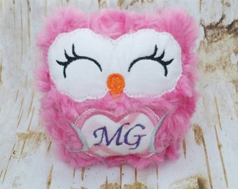 Personalized owl toy, baby toy, pink owl, monogrammed owl, owl toy, baby shower gift, fuzzy owl toy, custom owl stuffie