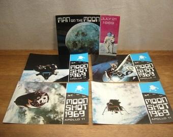 Vintage NASA postcards, 4 x Moonshot 1969 postcards and 1 x Man on the Moon postcard