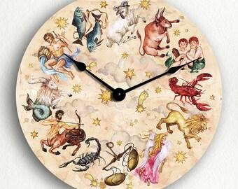 Zodiac Wall Clock Etsy