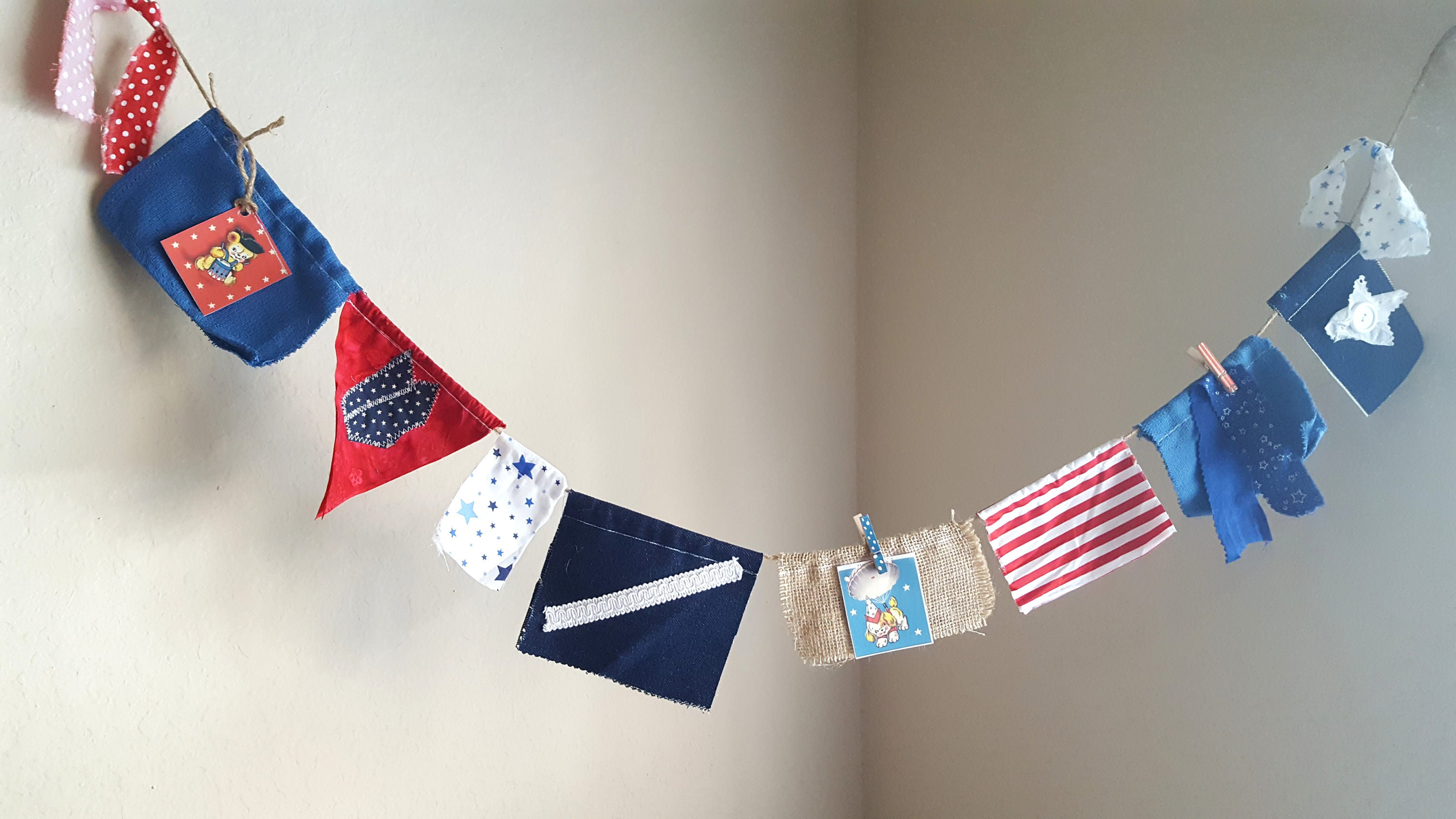 July 4th Banner Red White Blue Scrap Fabric Garland Rag