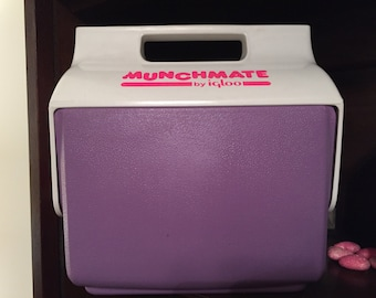Vintage Igloo Munchmate Cooler 1980's 1990's Igloo Cooler Neon Purple Pink Glam Lunch Box Food Drink Cooler Color Pop Retro Picnic Glamping