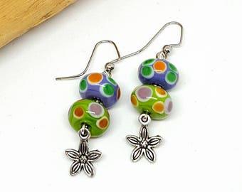 Polka Dot Hippie Flower Earrings - Polka Dot Earrings - Hippie Earrings - Flower Earrings