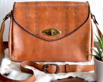 Large Boho Leather Messenger Bag