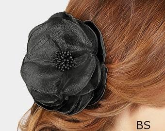 Party Hair Clip, Black Flower Hair Clip Brooch, Big Hair Flower Accessory, Flower Fascinator, Gardenia Flower Hair Clip
