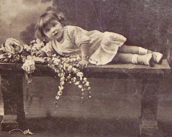 FRENCH PHOTO POSTCARD - little girl toddler, costumes, flowers roses, christmas xmas cards, New Year postcard, retro greetings card