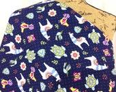 Llama Fabric--Sea Turtle Fabric--Butterfly Fabric--Riley Blake Fabric--Quilt Fabric--Blue Fabric--Juxtaposey Blue--Fabric by the HALF YARD