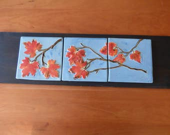 autumn maple leaf tile trio