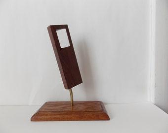 Vintage Minimalist Wood Sculpture Danish Modern Style Tabletop Decor