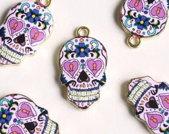 Skull Charms, Sugar Skull Pendants - 4 pieces (130G)