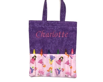 Personalized Crayon Holder -  Crayon Tote - Purple Tote -  Crayon Holder - Embroidered Crayon Holder